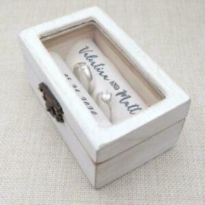 Wedding Ring Box Rustic Wooden Ring Holder Custom Ring Bearer Box Engagement Box