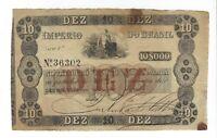 10 Mil Reis Brasilien 1854 R037 / P.A231 - Brazil Banknote