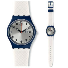 Swatch White Dilight Watch GN720 Analogue Silicone White