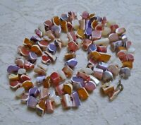 VINTAGE MULTI COLOR SHELL NUGGET BEADED BOHO BEACH NECKLACE 30 INCH