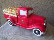 Cookie Jar Harry & David Vintage Fruit Truck Ceramic Glazed Red Collectible