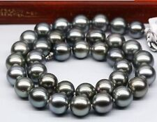 "Tahitian genuine natural black pearl necklace 20"" huge 12-14mm round"