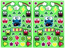 SANRIO KEROPPI Frog Shamrock St Patricks Scrapbook Stickers 2 Sheets