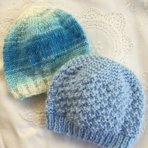 * 2 New Born Plus * Baby Beanies * (Warm) * Blues * Aust Hand Knitted *