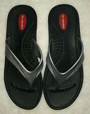 Okabashi Woman's Thong Flip Flops Black And Gray Rubber US Size M/L