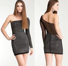 NWT bebe black mesh one shoulder stud sequin side back cutout top dress M Medium