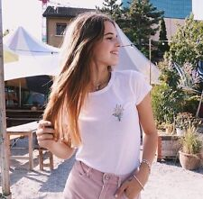 Last One Brandy Melville White Cropped Mason Bouquet Embroidery Top Sz S/m