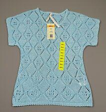 Leo & Nicole Ladies Short Sleeve Top Open Knit Tunic Waterslide Blue - Size S