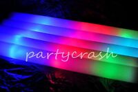 "100 PCS Light-up Foam Sticks LED Multi Color Rave Rally Baton 18"" Long Wholesale"