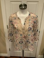 Maeve Anthropologie Tan Sheer Floral Print Tunic Top, Size 2 (US), 6 (UK)