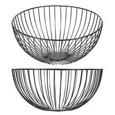 Kitchen Black Metal Wired Decorative Fruit Bowl Ornament Egg Bread Basket