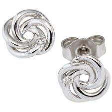Ohrstecker verschlungen 585 Gold Weißgold 2 diamanten brillanten Ohrringe