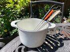 Le Creuset Cast Iron White Fondue with Forks Vintage New
