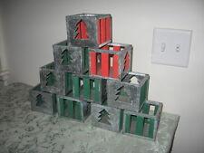 Lot/10 Haitian Folk Art Christmas Candle Holders Galvanized Metal Green Red Wood