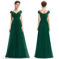 Ever-Pretty Dark Green V Neck Bridesmaid Dresses Long Chiffon Pleated Gown 23368