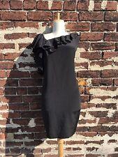 NWT Diane von Furstenberg 12 Rare Black 100% Silk Ruffled Amora Shift Dress DVF