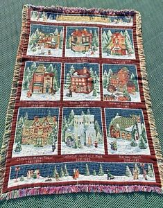 Vintage 90s Heritage Village Collection Christmas Afghan Tapestry Throw Blanket