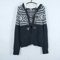 ISOLDE Womens Grey Nordic Norwegian Wool Hooded Cardigan Jumper SIZE Medium, M