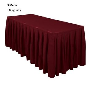 3 Meter Burgundy Polyester Table Skirting Skirt Table Cloth Wedding Events Party