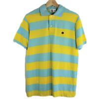 A Bathing Ape Baby Milo Bape Stripe Polo Shirt Ape Big Logo Head Mens Size M
