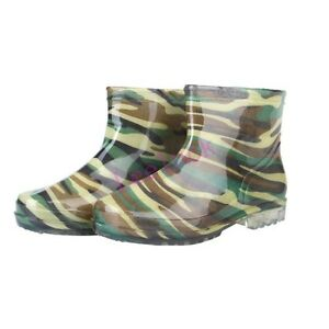 Womens Mens Waterproof Camouflage Rubber Rain Bootie Military Shoes Ankle Boots
