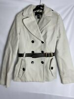 Mango Suit Cotton Beige Cream belted Lined Military Coat Jacket Size L 31003150