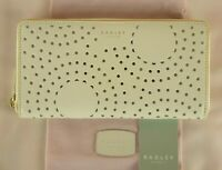 Radley Broderie Anglais Purse Wallet with Dust Bag Ivory Leather Zip Around