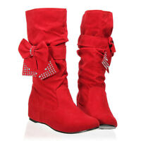 Size 16-4 Womens Flat shoes mid calf booties Ladies crystal Bow Chelsea Boots