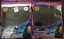Ladies Thermal Vest Top AND Legging Bottoms Long Janes 14/16 SIZE BLACK