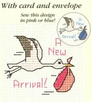 Baby Stork Counted Cross Stitch Kit- Mouseloft - Needle, Threads, Aida & Card