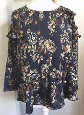 VIOLETA BY MANGO Blue Ruffle Blouse Size 18 Floral Bird Print 3/4 Slvs Silky