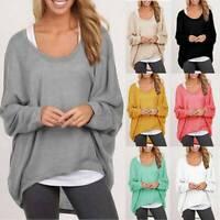 Women Batwing Sleeve Shirt Blouse Sweatshirt Pullover Loose Lounge Oversized Top