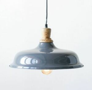 Gray Pendant Lamp Metal and Wood Dock Light with White Interior