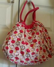 APPLE FABRIC PURSE BAG TOTE REVERSIBLE ? RED WHITE GOLD ROUND SHAPE