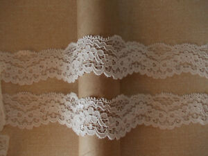 Ivory STRETCH soft textured floral garland design shaped Lace 2.5m / 5m