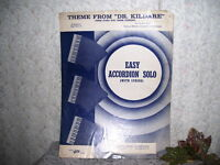 THEME FROM DR. KILLDARE SHEET MUSIC EASY ACCORDION SOLO WITH LYRICS 1962