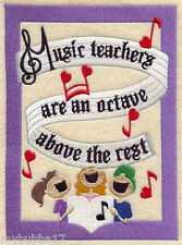 MUSIC TEACHERS ARE AN OCTAVE ABOVE  SET OF 2 BATH HAND TOWELS EMBROIDER by laura