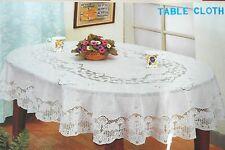 135x180 cm OVAL Weiß Tischdecke TISCHDECKE SCHUTZDECKE Blumenmuster Vinyl NEU