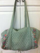 Vera Bradley Retired Rare Mist Green Large Duffel Bag! Excellent