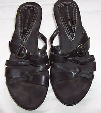Women's Black Leather Montego Bay High Heeled Sandals - Size 8.1/2