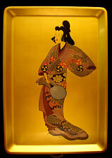 "17 3/4""  JAPANESE SHOWA PERIOD LACQUERED WOOD HAND PAINTED TRAY / PICTURE"