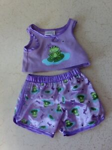 Build a Bear Workshop Girls Purple Two Piece P.J's CUTIE FROG Stitched With LOVE