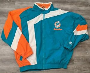 Vintage Starter Miami Dolphins big star Pullover Windbreaker Jacket Size XL