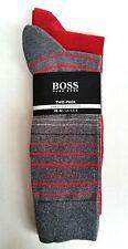 BOSS Hugo BOSS Homme Chaussettes-Pack de deux-rouge/gris avec couleur rayures UK 5, 5-8