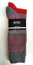Boss Hugo Boss Mens Socks - Two Pack - Red /Grey with coloured Stripes UK 5, 5-8