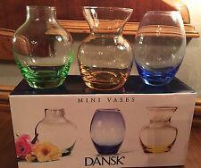 Set of 3 Dansk Pastel Colored Glass Mini bud Vases SPRING! IN BOX!