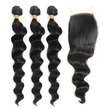 "Indian Virgin Hair Loose Wave 3 Bundles14""16""18"" With 14"" 4 by 4 Lace Closure"