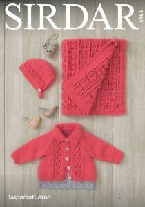 Sirdar 5165 Baby Jacket Bonnet and Blanket Knitting Pattern  - Aran