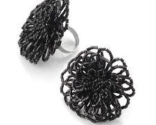 Black Bead Adjustable Ring