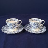 MINTON SHALIMAR SET 2 COFFEE DEMITASSE ESPRESSO CUPS SAUCERS BLU FLORAL ENGLAND